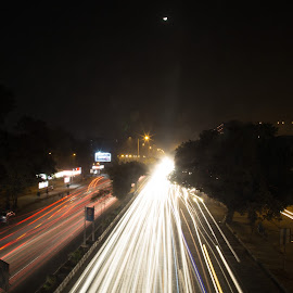 Visions by Nazneen (voiceofcamera.com) - Transportation Roads ( lights, voiceofcamera, artistic photography, artistic photo, voiceofcamera.com, trending #1, visions in night, photography )