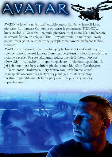 Tył ulotki filmu 'Avatar'