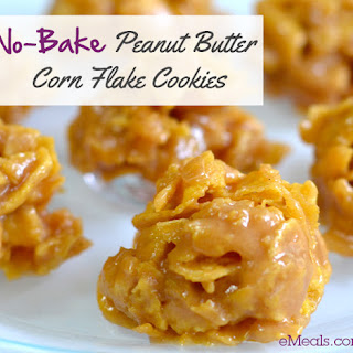 No-Bake Peanut Butter Corn Flake Cookies.