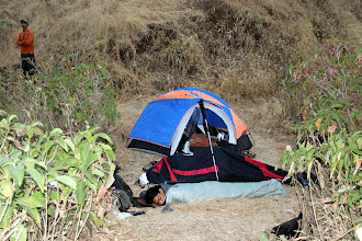 Photo: Early morning with Guru looking at Bhatoba, Richie Kher in his sleeping bag, Sunny Jamshedji hidden in his bivy sack and Ketan still in tent. (Courtesy Ajit Bobhate)