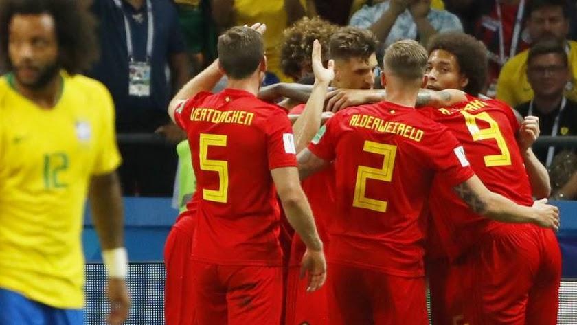 Los jugadores de Bélgica celebran la victoria.
