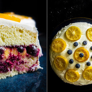 Lemon Blueberry Cake with Lemon Cream Cheese Frosting.