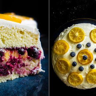 Lemon Blueberry Cake with Lemon Cream Cheese Frosting.