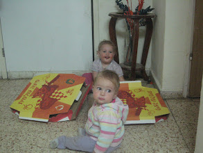 Photo: Tamar & Gali and the best part of the pizza