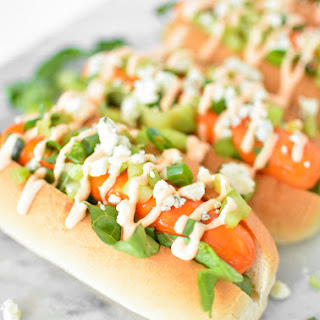 Lighter Buffalo Chicken Hot Dogs