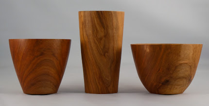 "Photo: Stan Wellborn - 6"" x 4"" vase, 4"" x 7"" goblet, 5"" x 4 1/2"" vase  [cherry]"