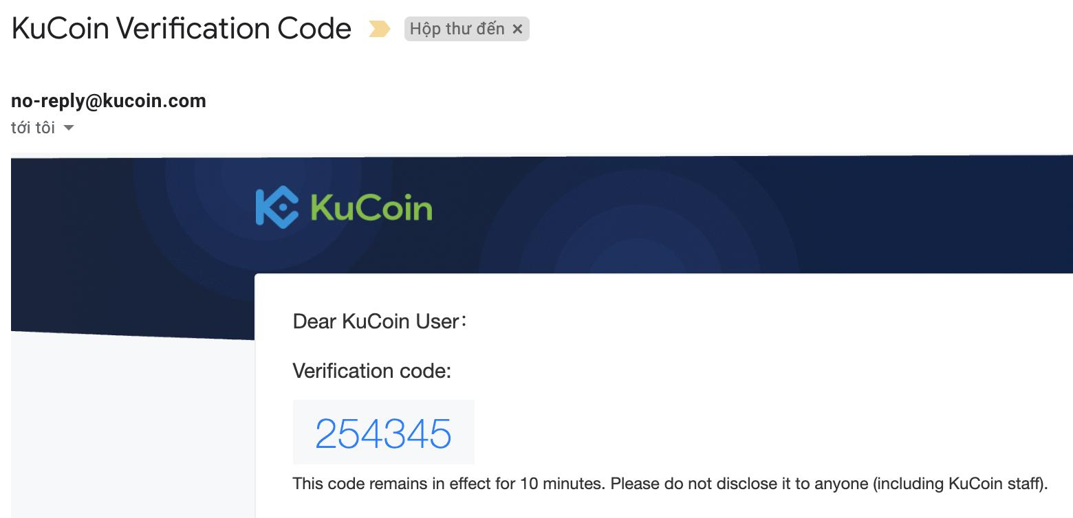 Mã xác nhận mail sàn KuCoin