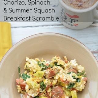 Chorizo, Spinach, and Yellow Squash Breakfast Scramble