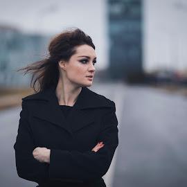 by Razvan Teodoreanu - Uncategorized All Uncategorized ( girl, street, morning, alone, redhair, black )