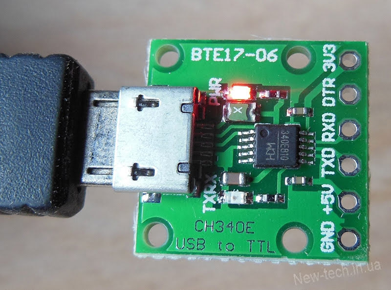 CH340E USB to TTL Serial Converter power on