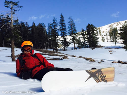 USA. California Lake Tahoe. Bruno taking a break from snowboarding Kirkwood