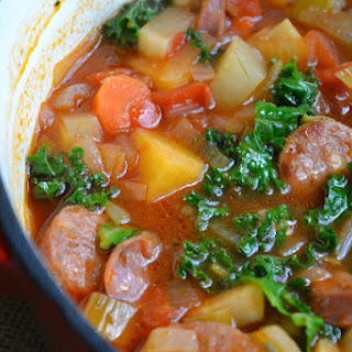Root Vegetable Soup with Sausage and Kale.