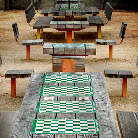 Santa Monica Chess Tables by T Sco - City,  Street & Park  Neighborhoods ( checkers, california, neighborhood, chess, game, table )