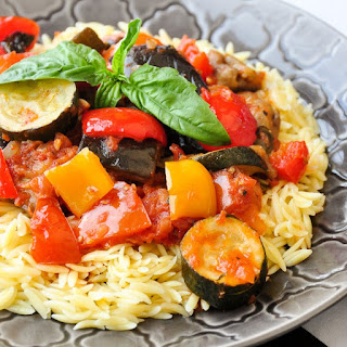 Spicy Ratatouille with Orzo.