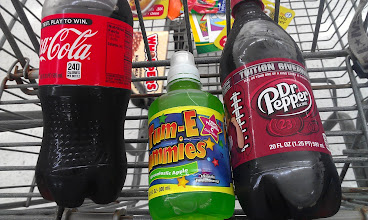 Photo: I picked up their favorite drinks and even the Dr. Pepper had football signage on it.