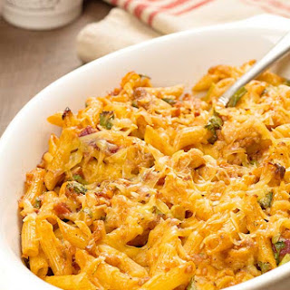 Baked Barbecue Chicken Pasta.