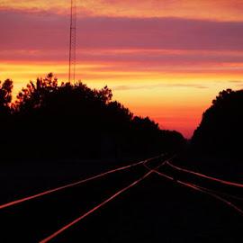Sunset at RR tracks by Brenda Shoemake - Transportation Railway Tracks (  )