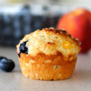 Peach and Blueberry Greek Yogurt Muffins