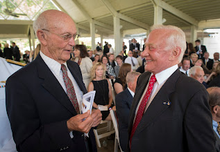 Photo: Apollo 11 Astronauts Michael Collins, left, and Buzz Aldrin talk at a private memorial service celebrating the life of Neil Armstrong, Aug. 31, 2012, at the Camargo Club in Cincinnati. Armstrong, the first man to walk on the moon during the 1969 Apollo 11 mission, died Saturday, Aug. 25. He was 82. Photo Credit: (NASA/Bill Ingalls)