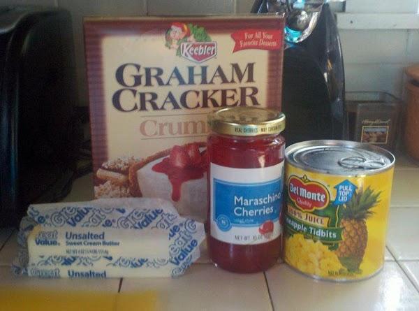 THE CRUST:1. Combine butter, pineapple juice & cherry juice well
