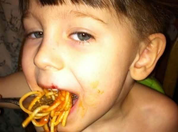 Ashton Eating Watermelon Spaghettie And Meatballs.