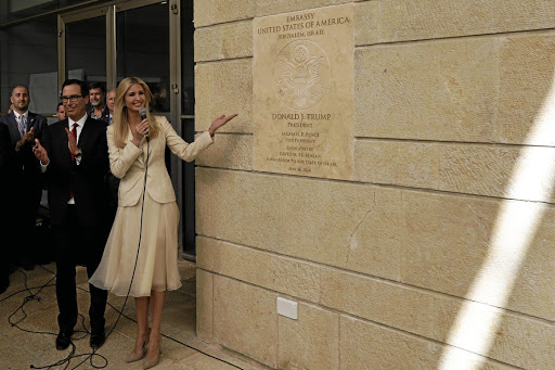 Senior White House adviser Ivanka Trump and US Treasury Secretary Steven Mnuchin stand next to the dedication plaque at the new US embassy in Jerusalem, during the embassy dedication ceremony on May 14 2018. Picture: REUTERS