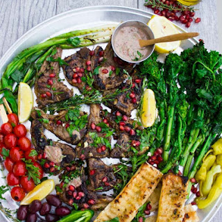 Grilled Lamb Chops with Black Olive Herb Butter.