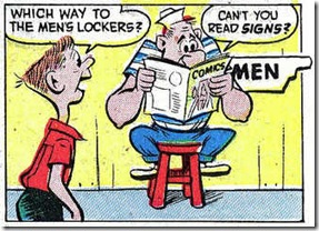 Big guy in sailor suit reading a comic book