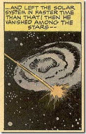 Jack Kirby Donnegan rockets out of the solar system in Donnegan's Daffy Chair comic book scans