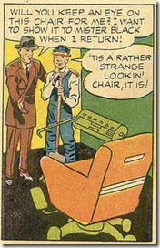 1957 Alarming Tales comic scans Janitor promises to look after funny looking chair in a comic book story by Jack Kirby
