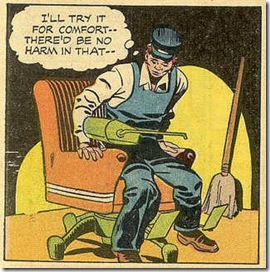 Janitor sits down in flying chair in a comic book story by Jack Kirby 1957 scans
