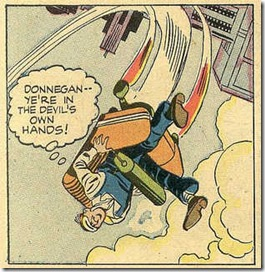 janitor gets a joyride in a runaway rocket chair drawn in a 1957 comic book story by Jack Kirby