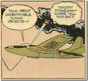 Flying chair rockets past air force jet drawn by Jack Kirby for Alarming Tales #1