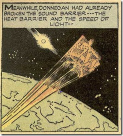 Jack Kirby Donnegan rockets out of the solar system in Donnegan's Daffy Chair comic book scans Jack Kirby drawings