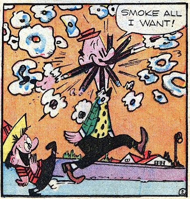 Milt Gross  comic book scan detail of a funny man smoking seven cigars at once