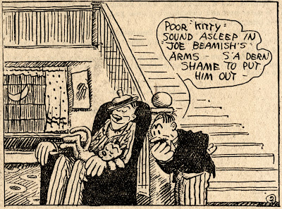 Joe Beamish asleep in chair wih kitty cat asleep on his lap George Herriman Stumble Inn high resolution hi-res comic strip scan