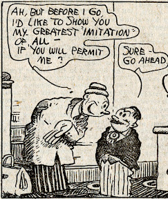 A guest at George Herriman's Stumble Inn speaks with Uriah Stumble in this detail from vintage comic strip scan