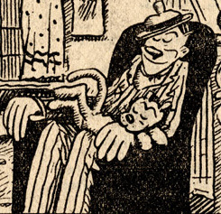 cat man asleep in couch chair George Herriman scan
