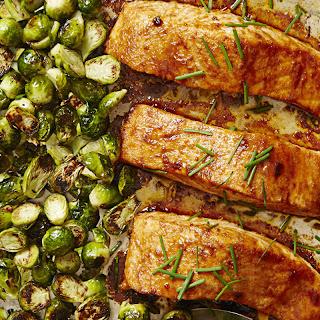 """BBQ"" Salmon & Brussels Bake"