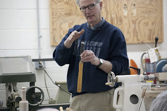 Photo: Mark Supik started the demonstration talking about the skew chisel.