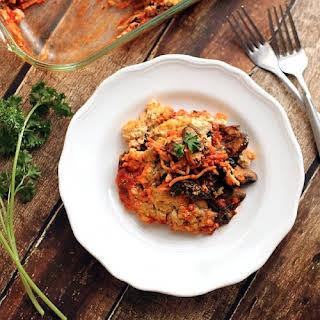 Baked Spaghetti With Kale, Mushrooms, and Tofu Ricotta.