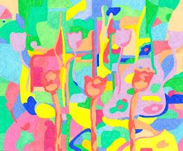 """Photo: Тадеуш Жаховский """"Диско-цветы. Disco Flowers"""", Title: Disco Flowers / Диско-цветы  Artist:Tadeush Zhakhovskyy / Тадеуш Жаховский Medium: Painting. mixed techique on cardboard, смешанная техника, дизайнерский картон. 50 cm x 61 cm x / 20 in x 24 in. О наличии картины просьба контактировать галерею.Также предлагается напечатанная на холсте репродукция этой картины в любом размере."""