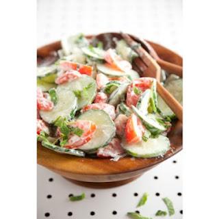 Cucumber, Tomato, Mint Salad.