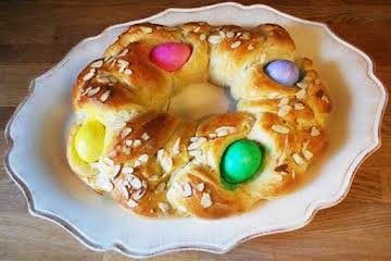 Easter Bread with Coloured Eggs