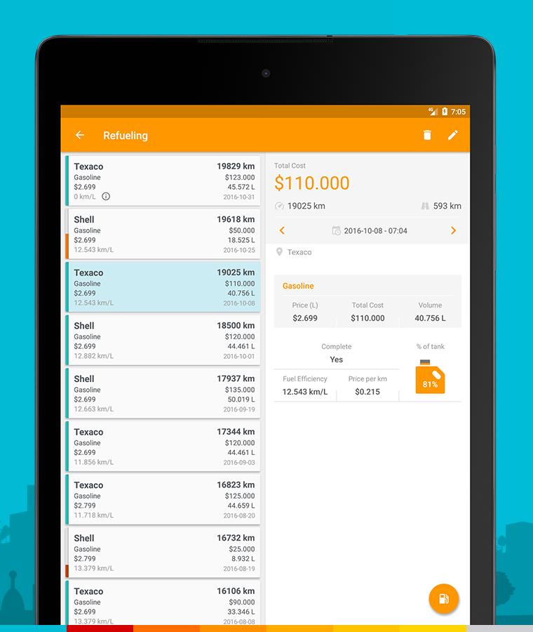 Drivvo – Car management, Fuel log, Find Cheap Gas Screenshot 9