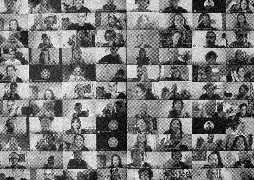 Screenshot of 88 participants videos during the online session