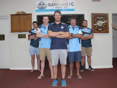 Narrabri FC captain-coach Rhys Hayne,committee member Zaac Brayshaw, secretary Danny Laws, president Steve Lubke and vice-president Matt Dunn, all who play for the club, are ready to compete in this Saturday's Namoi Soccer League grand final against Moree Services FC at Hogan Oval. The premiership would be the third trophy that the side would have won in 2017, should it be victorious.