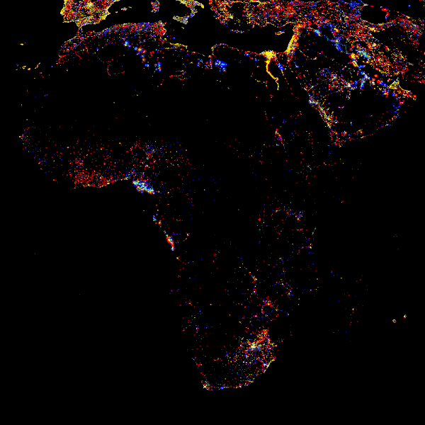 Photo: Africa at night, showing the change in illumination from 1993-2003. This data is based on satellite observations. Lights are colour-coded. Red lights appeared during that period. Orange and yellow areas are regions of high and low intensity lighting respectively that increased in brightness over the ten years. Grey areas are unchanged. Pale blue and dark blue areas are of low and high intensity lighting that decreased in brightness. Very dark blue areas were present in 1993 and had disappeared by 2003. The abundance of red and yellow on the map shows that nights are getting brighter in many areas, but that the majority of the continent is still very dark.