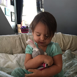 Love My Sock Monkey by Kristine Nicholas - Novices Only Street & Candid ( love, stuffed animals, child, girl, hugs, hug, toy, hugging, infant, baby, toddler, kid,  )