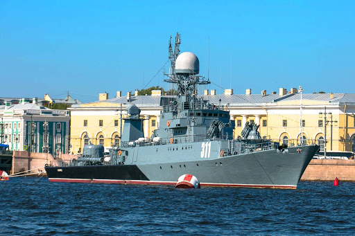 russian-warship-neva-river.jpg - A warship in the Neva River of St. Petersburg, Russia.